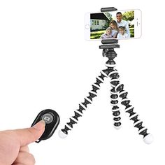 Eyexplo Phone Camera Flexible Tripod for iPhone Octopus Cell Phone Tripod Stand with Remote and Universal Smartphone Holder Mount Black White *** Click image to review more details. This is Amazon affiliate link.