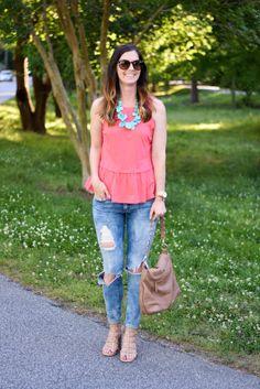 Coral peplum tank, turquoise statement necklace, distressed denim