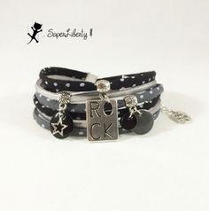 Bracelet cordon tissu à pois et cuir ROCK 2 tours noir et gris