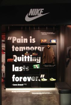 Nike-isms installation show how quotes can cover walls when the right print media is used.