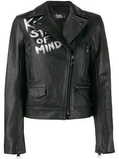 Karl Lagerfeld Karl X Olivia biker jacket - Black Karl Lagerfeld Men, Black And White Colour, Parisian Style, Baby Design, Biker, Street Wear, Women Wear, Leather Jacket, Long Sleeve
