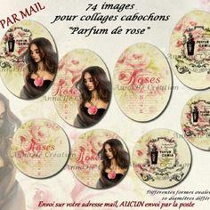 """Collage digital pour cabochon bijoux """"parfum de rose"""", images digitales annahé création, envoi par mail"""