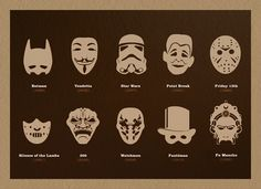 What's Under Your Mask? That's the question that German illustrator Adrian Pavic asks in this series of prints. Honoring the masked icons in Western society, ranging from Darth Vader, to Spider-Man, and even the French thief Fantômas, this print is an interesting look at identity and our society's obsession with secrets. #superb