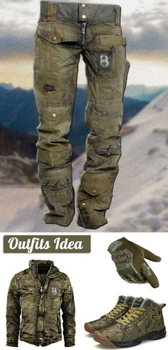 Lumberjack Style, Apocalyptic Clothing, Tactical Wear, Mens Outdoor Clothing, Cowboy Outfits, Stylish Mens Outfits, Mens Fashion Suits, Outdoor Outfit, Sneakers Fashion