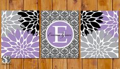 Floral Flower Burst Purple Black Lavender Grey Nursery Damask Monogram Set of 3 Wall Baby Decor Bedroom Name Decor 11x14 DIY Printable(92) on Etsy, $15.00