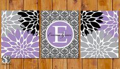 Floral Flower Burst Purple Black Lavender Grey Nursery Damask Monogram Set of 3 Wall Baby Decor Bedroom Name Decor 11x14 DIY Printable(92) on Etsy, $15.00