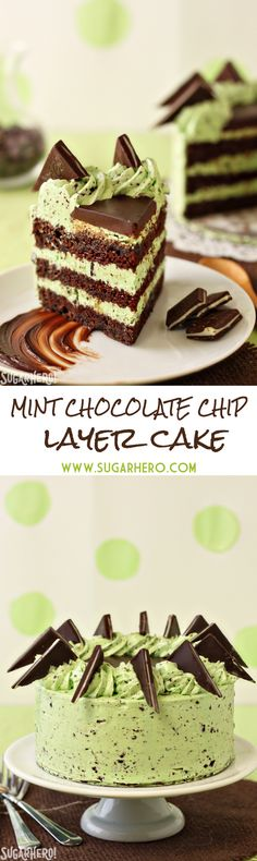 Mint Chocolate Chip Layer Cake - moist chocolate cake and refreshingly minty chocolate chip frosting. Better than mint chip ice cream! | From SugarHero.com