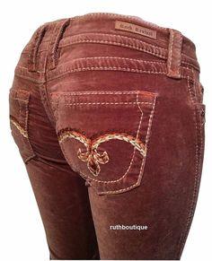 Rock Revival Size 28 Brown Skinny Corduroy Jeans NWT $149.00 #RockRevival #SlimSkinny