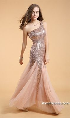 2015 Sheath/Column One Shoulder Floor Length Prom Dress Tulle&Lace #51302 http://www.ikmdresses.com/2014-Sheath-Column-One-Shoulder-Floor-Length-Prom-Dress-Tulle-amp-Lace-51302-p84946