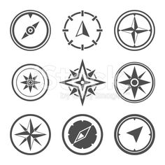Wind rose compass flat vector symbols set royalty-free stock vector art