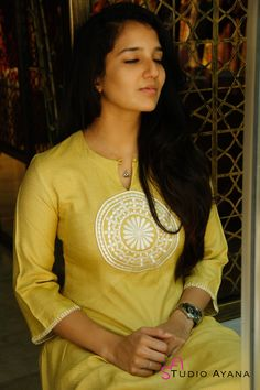 Fabric Details :Top: Textured Tussar Silk with embroidered chest patch and sleeve hem stitch detailing. NOTE: Sizes refer to bust circumference. New Kurti Designs, Simple Kurti Designs, Salwar Neck Designs, Churidar Designs, Kurta Neck Design, Kurta Designs Women, Dress Neck Designs, Blouse Designs, New Dress Design Indian