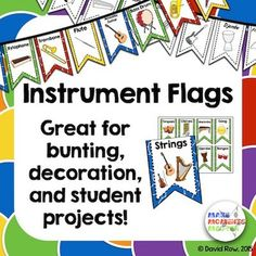 Instrument Flags - Bunting for the Music Classroom and Student projects! Music Classroom, Classroom Themes, Classroom Walls, Classroom Organization, Classroom Management, Teaching Music, Teaching Kids, Ray Charles, Instruments Of The Orchestra
