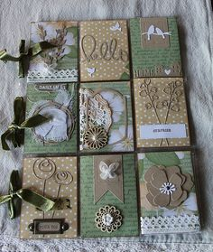tan and green pocket letter Atc Cards, Journal Cards, Card Tags, Project Life, Pocket Pal, Pocket Cards, Pocket Scrapbooking, Scrapbook Cards, Book Crafts
