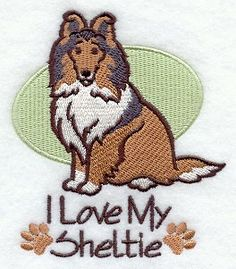 Sheltie Dog Embroidered Handtowel on Etsy, $11.99