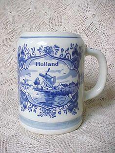 Delft Blue Handpainted Pottery Active Vintage Candle Holder Netherlands