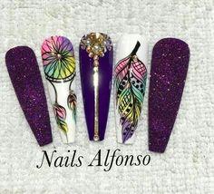Bling Nail Art, Funky Nail Art, Funky Nails, Bling Nails, Trendy Nails, Glitter Nails, Pretty Nail Designs, Nail Art Designs, Hippie Nails