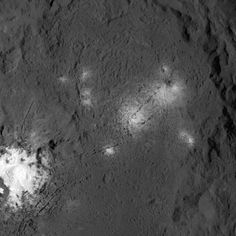 Anomalously bright areas on the dwarf planet Ceres have the highest concentration of sodium carbonate ever seen outside our planet, says a new study published in the journal Nature. Ceres' bright spots are seen up close in this image from NASA's Dawn spacecraft. The probe took this image on March 26, 2016, from its low-altitude mapping orbit, at a distance of about 240 miles (385 km) above the surface. Image credit: NASA / JPL-Caltech / UCLA / MPS / DLR / IDA.