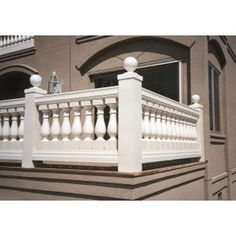 Polyurethane Beaumont Baluster for 7 in. Balustrade System is paintable and moisture resistant. This is perfectly suitable for both interior and exterior usage. House Outside Design, House Design, Design Design, Colonial House Exteriors, Balcony Railing Design, House Doors, Raised Garden Beds, Ceiling Design, Interior And Exterior