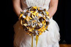 Grey and Yellow Wedding Bride's Mini Pinwheel Bouquet