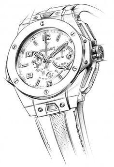 Hublot Big Bang Ferrari Titanium Ref: - sketch - best mens watches, diamond watches for men, mens luxury watches *ad Diamond Watches For Men, Best Watches For Men, Luxury Watches For Men, Cool Watches, Jewellery Sketches, Jewelry Drawing, Datejust Rolex, 4 Elements, Watch Drawing
