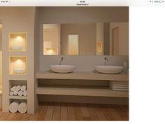 Badkamer met nis en spotjes