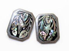 Abalone Birds Earrings, Mexico Sterling Silver Earrings, Mexico 925 TE-32 Clip On Earrings (c1970s) - Wedding by GillardAndMay on Etsy