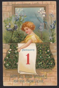 New Year-Clapsaddle-Child-Balcony-January 1-Series 681-Antique Postcard #NewYear