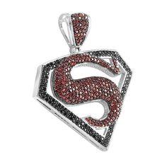 Superman Logo Pendant Red Black Lab Diamond White Gold Finish   Masterofbling