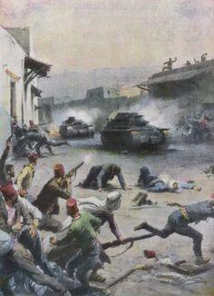 Nablus-نابلس: NABLUS - At Nablus Palestinians Rebel Against British Mandate, 1936 (By Italian war artist and illustrator Achille Beltrame...