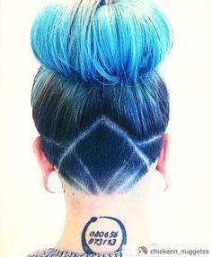 Shornnape #SHNFEED submit your Undercuts - @chickenn_nuggetss #bluehair #updo #donutbun...