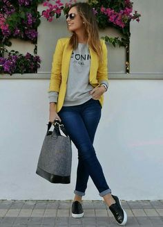 Blazer + Jeans + Yellow