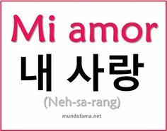Mi amor Korean Words Learning, Korean Language Learning, How To Speak Korean, Learn Korean, Learn Hangul, Korean Writing, Korean Phrases, Korean Alphabet, Korean Lessons
