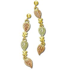 Triple Leaves Black Hills Gold Earrings