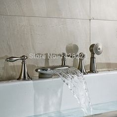 Cheap faucet china, Buy Quality faucet adapter directly from China faucet nickel Suppliers:  Deck Mounted Three Handles Waterfall Bathtub Faucet Set Brushed Nickel with Handshower Bathroom Tub Faucet