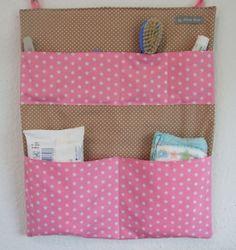 gro es wandutensilo im rosen karomix mit 7 taschen das. Black Bedroom Furniture Sets. Home Design Ideas