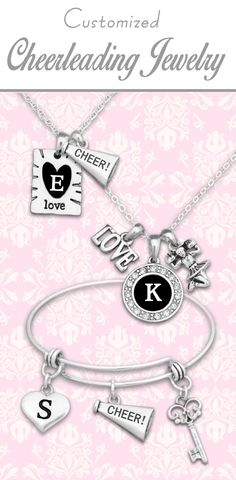 Cheerleading jewelry with custom initials! - $9.98 // Perfect accessory for every game and competition!!