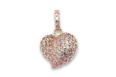 18 KARAT PINK GOLD AND DIAMOND HEART PENDANT. Diamond Heart, Pink And Gold, Belly Button Rings, Charms, Pendants, Earrings, Jewelry, Ear Rings, Stud Earrings