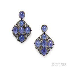 14kt Blackened Gold, Tanzanite, and Diamond Earrings