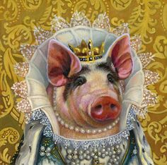 I'm Princess of the Piggery and don't you forget it! - Hannah E. This Little Piggy, Little Pigs, Costume Chien, Illustrations, Illustration Art, Farm Animals, Cute Animals, Pig Art, Cute Piggies