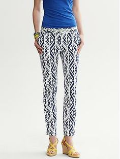 Banana Republic's Camden Fit Bold Print Ankle Pant bring an island vibe to your summer suitcase - especially when paired with chartreuse, orange, or mint