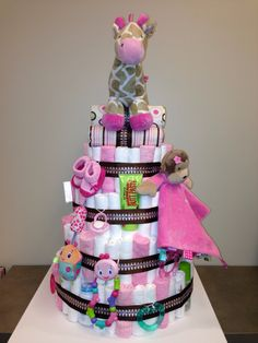 Diaper Cake - The giraffe stole my heart.