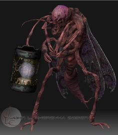 """""""The whisperer in the darkness."""" by H.P. Lovecraft . visualized by John Cherevka creature: Mi-go The Mi-go extract the human brain and seal the brains up in airtight containers. This way we may end..."""