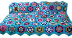 Crochet afghan crochet blanket handmade blanket kaleidoscope hexagons,  variation 3 with turquoise border  MADE TO ORDER
