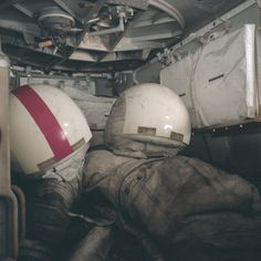 Apollo 17 December 1972, moon-walking suits and space helmets covered by lunar dust