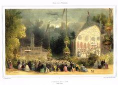 """CITY SCENES Chromo from """"Paris et ses Environs"""" - """"LE CHATEAU DES FLEURS"""" -1858 #Vintage $28.99"""