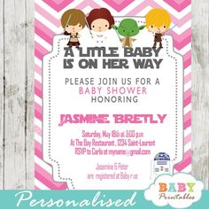 Printable pink chevron star wars baby shower invitation for girls. This personalized star wars inspired baby shower invitation card features the cutest whimsical characters against a chevron zigzag patterned background in white and pink. #babyprintables