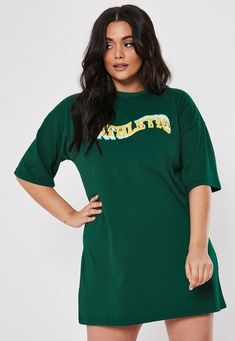 Missguided Plus Size Green Atheltic Graphic T Shirt Dress Slogan T Shirt Ide 15 Dresses, Cute Dresses, Peplum Dresses, Ivory Dresses, Slogan T Shirt Dress, Dresser, Babe, Plus Size Peplum, Gold Strappy Heels