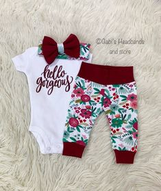 2f03ee93a winter baby clothes, baby girl coming home outfit, Christmas baby outfit, newborn  girl coming home outfit, floral baby girl clothes,burgundy