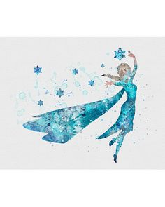 Princess Elsa Frozen Watercolor Art