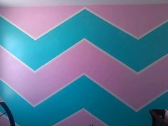 Chevron stripes in the girls' room Paint ideas Turquoise Pink. But in Frozen Colors! (teal and plum). I like leaving the white stripe. Girls Room Paint, Girls Bedroom, Bedroom Ideas, Paint Stripes, Big Girl Rooms, Fashion Room, House Painting, My Room, Kids Room